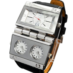 """THE MORNING STAR""  Men's Hinge Three Time Zone Wristwatch"