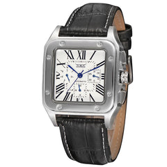 """THE NAPOLI COAST"" Men's Dressy Tank-Style Automatic Roman Numeral Calendar Watch"