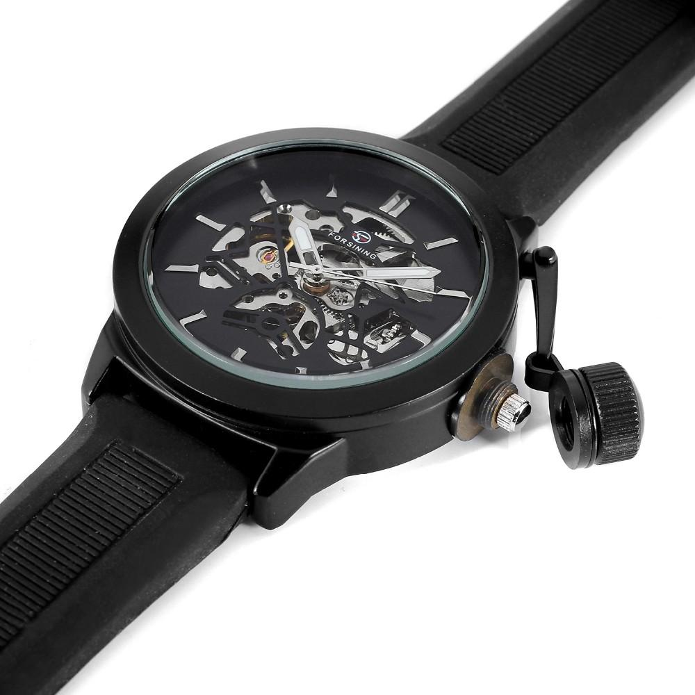"""THE NEW WORLD""    Skeleton Automatic Luxury Watch With Stem Protector And Rubber Watch Band"