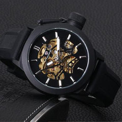 """THE NEW WORLD""    Skeleton Automatic Watch With Stem Protector"