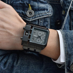 """THE RAIDER"" Oversized Men's Square Dial Wristwatch"