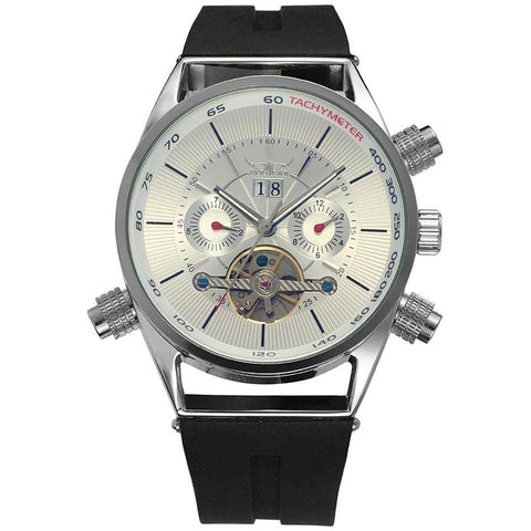 """THE SHARK's TOOTH"",  Men's Sport Automatic  Watch With Full Calendar And Silicone Band"