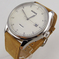 """THE SILVER ICE"" Luxury Leather Men's Automatic With Calendar"