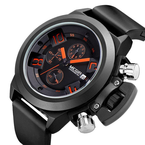 """THE TIME FORTRESS"" Men's Chronograph, Calendar, Silicone Band Sport Watch - 1 Week Std. US Shipping"