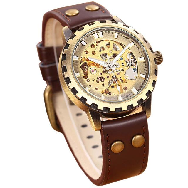 """THE TITAN"" Men's Leather Skeleton Steampunk Watch"