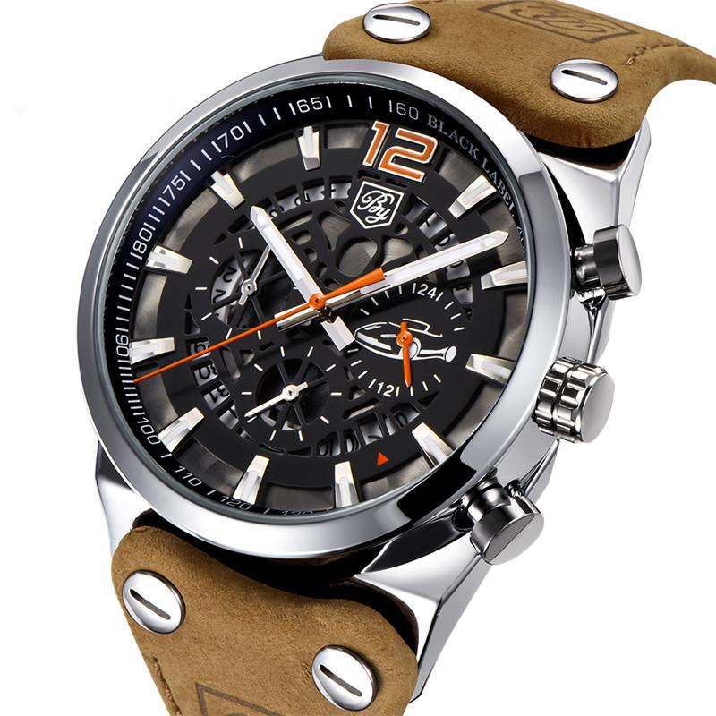 "The ""TOWN And COUNTRY"" - Men's Leather Band Calendar Quartz Sport Watch - 1 Wk Std US Shipping"