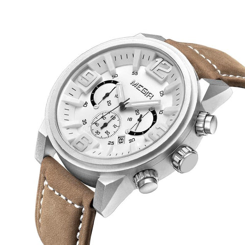 "Watch - ""THE AURORA""  - Men's Big Dial Quartz Leather Band With Calendar And Stainless Steel Case"