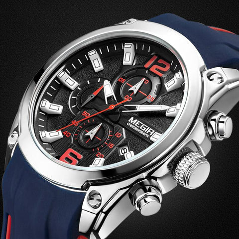 "Watch - ""THE CHRONO SPORT"" Men's Quartz  Stop Watch Calendar Silicone Band Sport Watch"