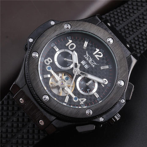 "Watch - ""THE NORTHERN LIGHTS""   Men's Luxury Black Rubber Band Sport Automatic Wristwatch"