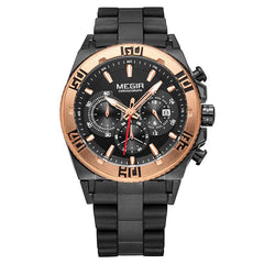 "Watch - ""THe ROAD WARRIOR"" - Mens Chronograph Quartz Silicone Band Military Sports Wristwatch"