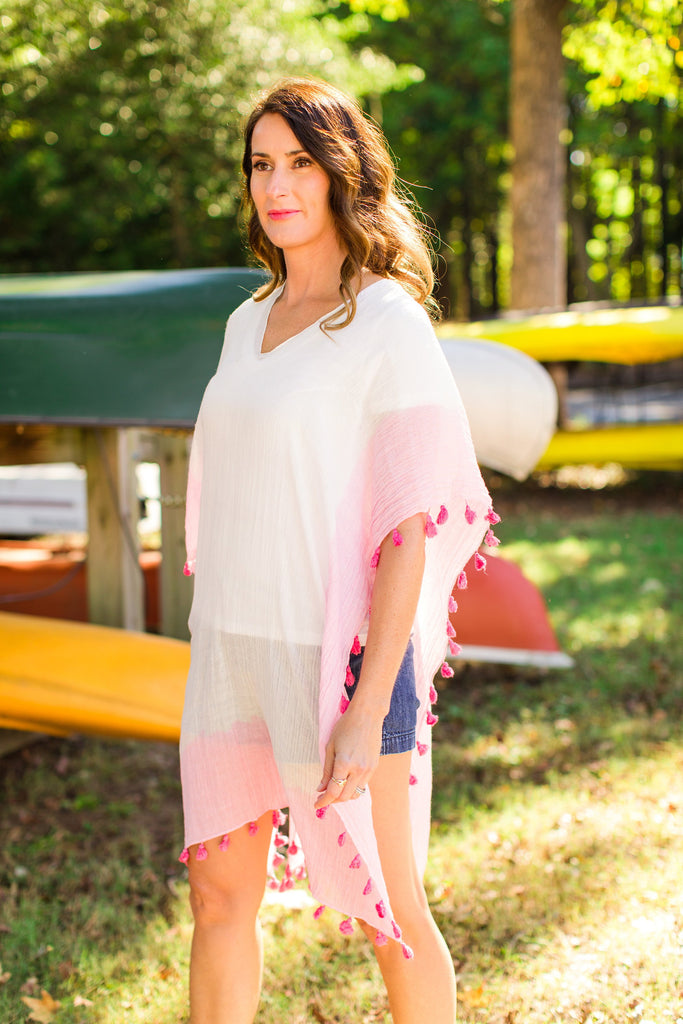 bright - pink poncho
