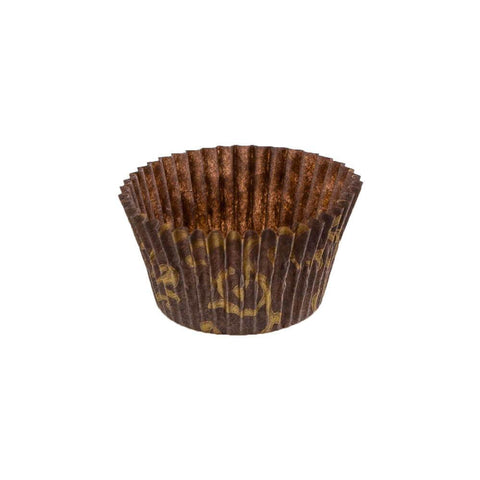 Brown With Gold Scroll Baking Cup