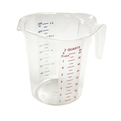 2qt Measuring Cup, Plastic, Color Graduations