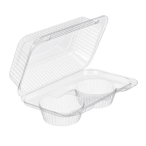 2 Cavity Clear Hinged Tray 8 ⅞ x 5 ⁵⁄₁₆ x 3 ⅜ inch