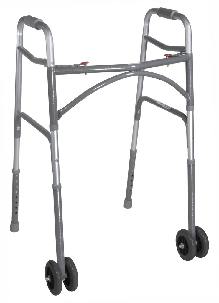 Walker Adjustable Bariatric 500lb w/Wheels Aluminum Folding Two Button by Drive
