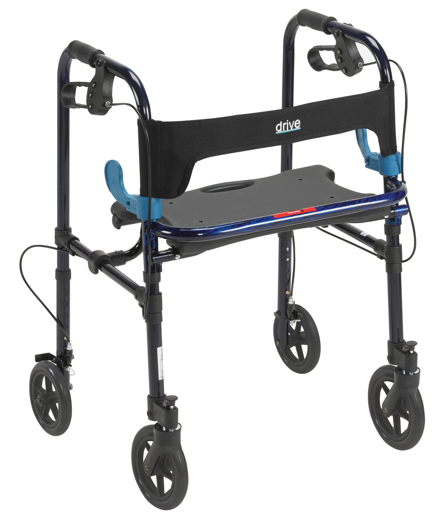 "Walker Adult Adjustable Clever-Lite Adult w/8"" Casters & Seat Loop Locks by Drive"