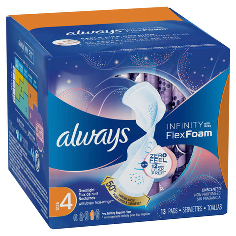 Always Infinity Sz 4 Overnight Sanitary Pads w/Wings Unscented by Proctor & Gamble
