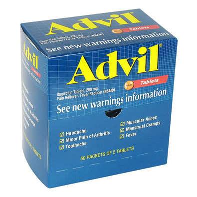 Advil Tablets Unit Dose Dispenser Box NSAIDS Pain Relievers by National Brands