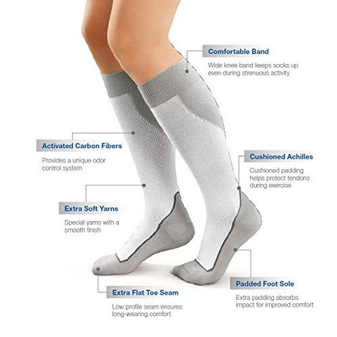 Stocking Knee Close Toe JOBST® Sport Socks 15-20mmg Compression Pair White/Gray