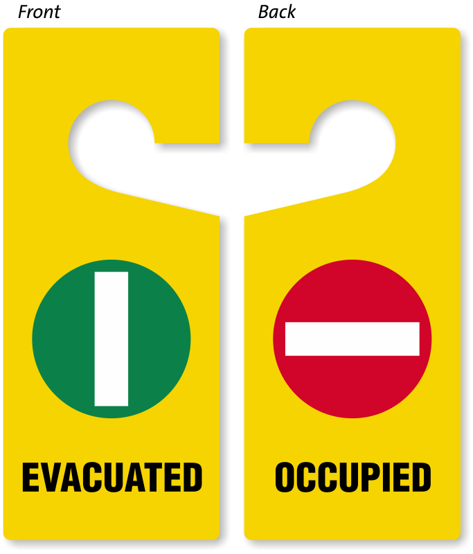 Sign Two Sided Door Hanger Tag: Evacuated / Occupied 3X8  by Compliance Signs