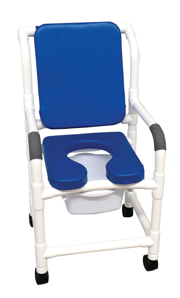 "Shower Chair PVC Blue w/Commode Deluxe 18"" 300lb Elongated Soft Seat by MJM"