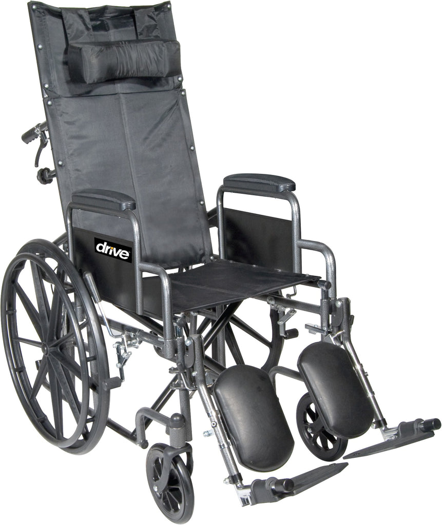 Wheelchair Reclining Back Removable Desk Arm w/Elevating Leg Rests Siver Vein by Drive