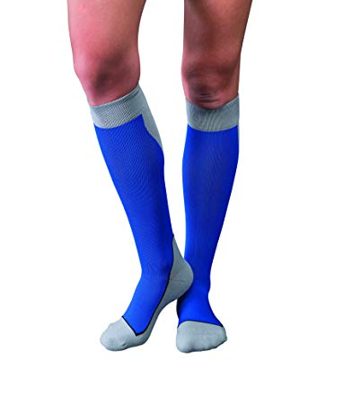 Stocking Knee Closed Toe JOBST® Sport Socks 15-20mmg Compression Royal Blue/Gray