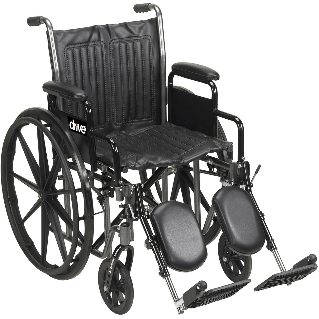 Wheelchair 18x18 Silver Sport 2 Silver Vein Finish, Fixed Full Arm Dual Axle by Drive