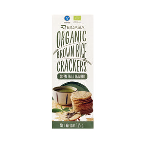 BioAsia Organic Brown Rice Crackers - Green Tea & Seaweed 115g