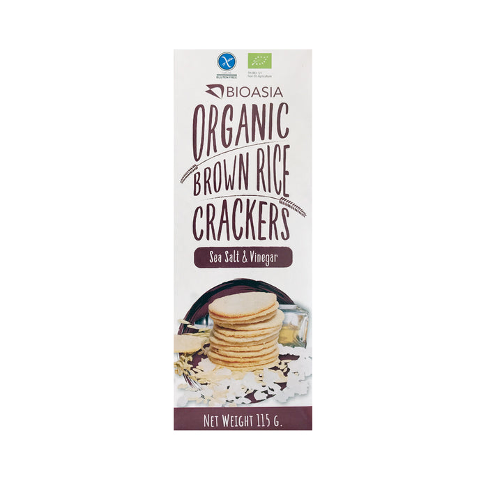 BioAsia Organic Brown Rice Crackers - Sea Salt & Vinegar 115g