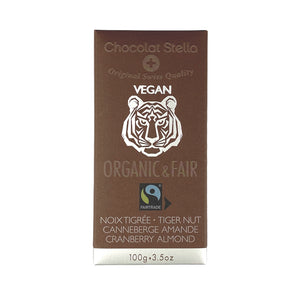 Chocolat Stella Organic Chocolate Couverture with Tigernut, Sweetened Cranberries and Caramelizes Almonds 100g
