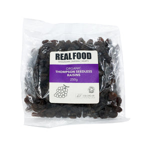 Real Food Organic Thompson Seedless Raisins 250g