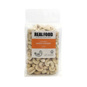 Real Food Organic Whole Cashews 350g