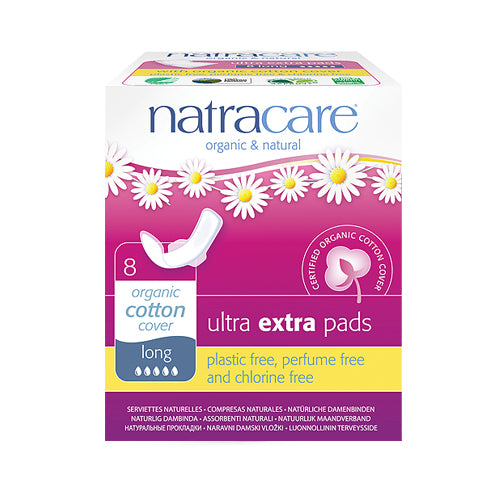 Natracare Organic Ultra Extra Pads Long (30cm) x 8pcs