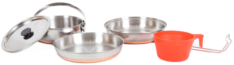 PATHFINDER 5 PIECE STAINLESS STEEL Cooking Set.