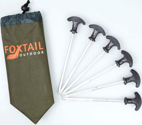 FOXTAIL 10pcs Galvenised Iron Tent Pegs with screw base