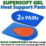 Soft Gel Comfort Heel Support Pads - 2 PAIR PACK Relieve Foot, Leg and Back Ache Now!
