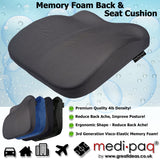 Medipaq - Memory Foam Contoured Seat and Back Cushion - Reduce Back Ache, Improve Posture!