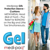 GEL Protection Sleeve - Cushions METATARSAL Head (Ball of Foot) - Plus Relief for BUNIONS on the Big and Little Toe Simultaneously