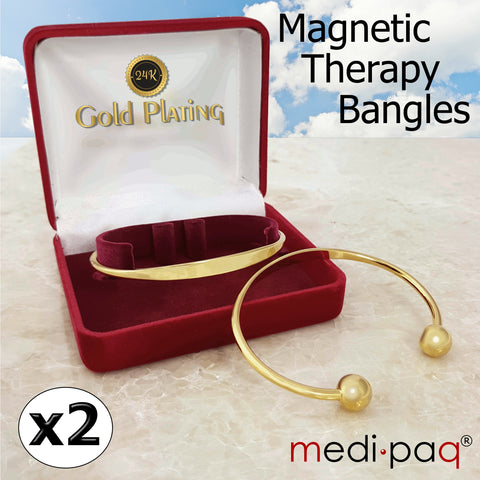 2x Magnetic Arthritis Health Bangle (Torque Bracelet) 24k Gold-Plated