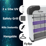 Fly-Bye - Insect Killer 20W UV light Attract And Zap Flying Insects - The Power Of A Commercial Zapper Made For The Home - 2800v Killing Mesh Grid - [Genuine Newly Launched For 2019]