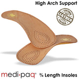 DELUXE Leather High Arch Support 3/4 Length Insoles