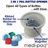 MEDICINE CAP PILL BOTTLE OPENER WITH MAGNIFIER