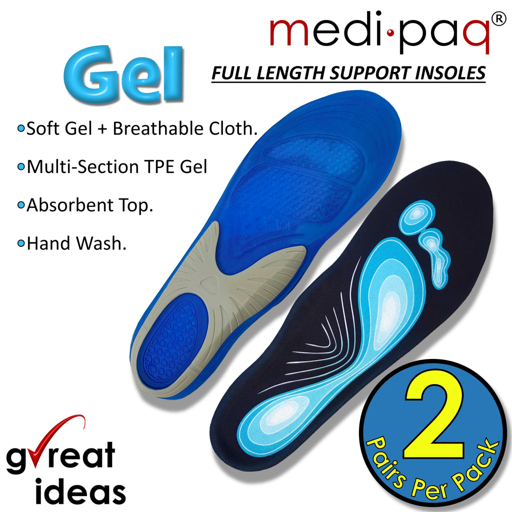 Silicone Gel Full-Length Insoles (2x Pairs)