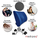 Medipaq® '3D' Mesh Orthopedic Memory Foam Lumbar Support Cushion - With Air Circulation - Reduce Back Ache, Improve Posture!