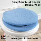 Toilet Seat Cover (x2) + Toilet Lid Cover (x2) - Super Warm Fleece - Metal Retaining Ring - Universal Fit - Machine Washable