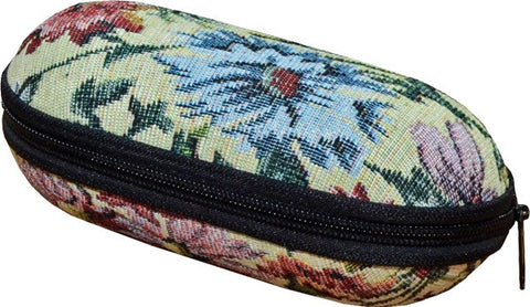 Secure hard Glasses Case in a Elegant Tapestry-style