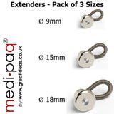 Trouser, Jeans, Skirt, Waist, Coat and Shirt Collar BUTTON EXTENDERS x3 (1 Small + 1 Medium + 1 Large)