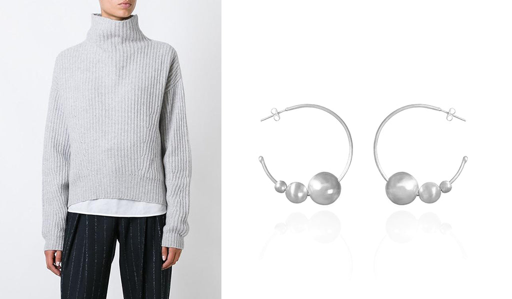 Oversized handcrafted hoop earrings and sweater | blingsense