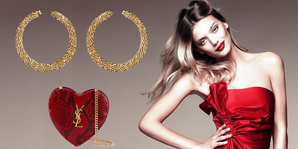 Red party dress and gold jewelry | blingsense